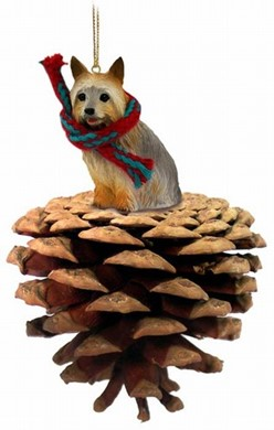 Pine Cone Silky Terrier Dog Christmas Ornament