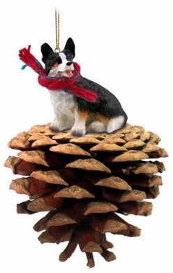 Pine Cone Welsh Corgi Cardigan Dog Christmas Ornament