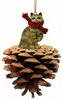Pine Cone Brown Tabby Cat Christmas Ornament