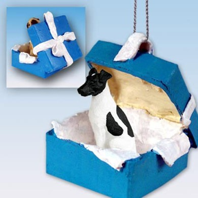 Fox Terrier Gift Box Holiday Ornament