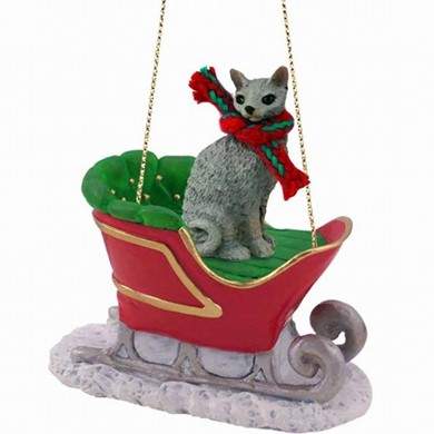 Cornish Rex Cat Christmas Ornament with Sleigh