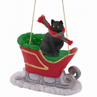 Black Cat Christmas Ornament with Sleigh