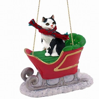 Manx Cat Christmas Ornament with Sleigh
