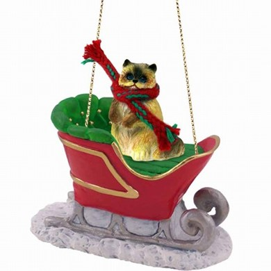 Ragdoll Cat Christmas Ornament with Sleigh