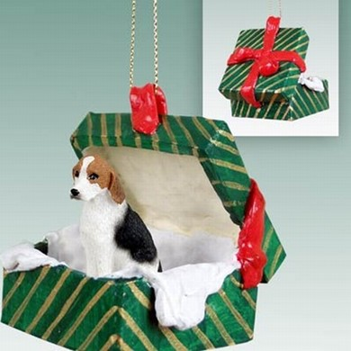American Foxhound Green Gift Box Christmas Ornament