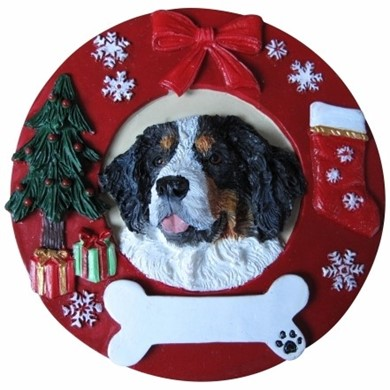 bernese mountain dog christmas ornament that can be personalized