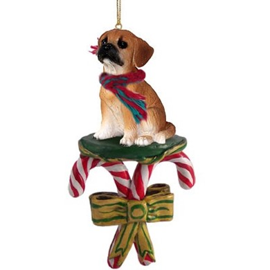 Candy Cane Puggle Christmas Ornament