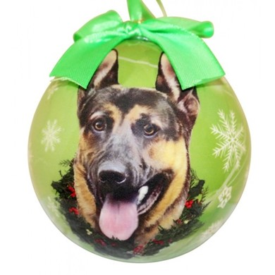 German Shepherd Dog Ball Christmas Ornament - click for more breed colors