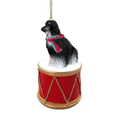 Afghan Hound Drum Christmas Ornament