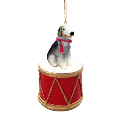 Bedlington Terrier Drum Christmas Ornament