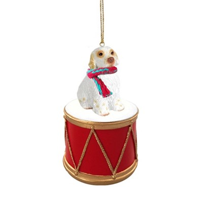 Clumber Spaniel Drum Dog Christmas Ornament