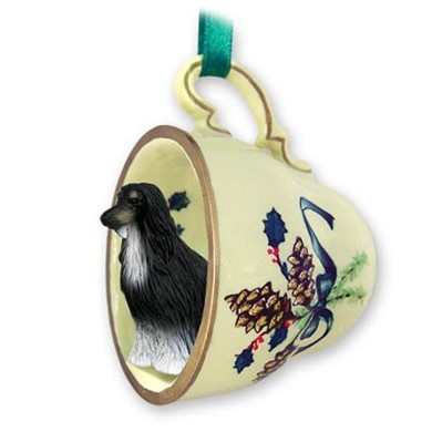 Afghan Hound Tea Cup Holiday Ornament