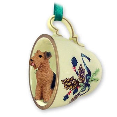 Airedale Tea Cup Holiday Ornament