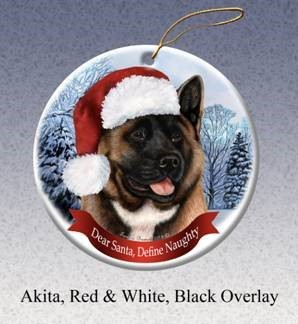 Akita Dear Santa Dog Christmas Ornament