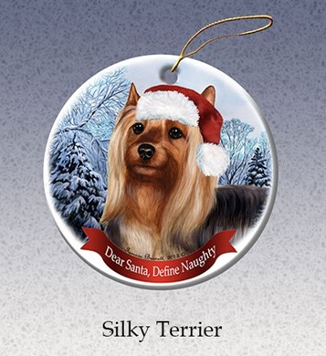Silky Terrier Dear Santa Dog Christmas Ornament