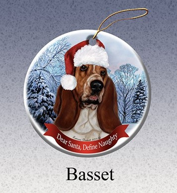 Basset Hound Dear Santa Dog Christmas Ornament