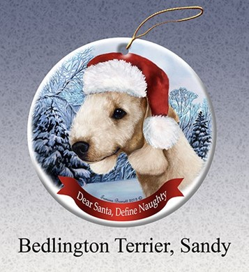 Bedlington Terrier Dear Santa Dog Christmas Ornament