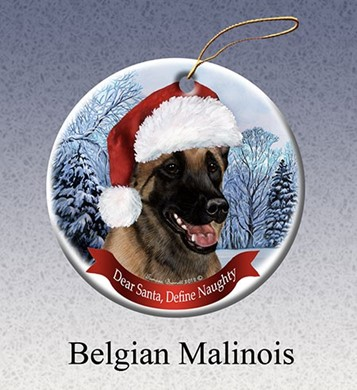 Belgian Malinois Dear Santa Dog Christmas Ornament