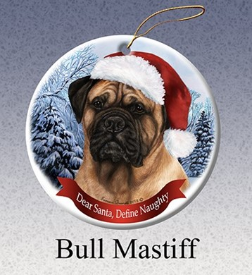 Bullmastiff Dear Santa Dog Christmas Ornament