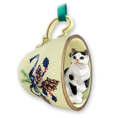 Black and White Cat Tea Cup Holiday Ornament