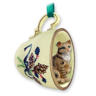 Brown Tabby Cat Tea Cup Holiday Ornament