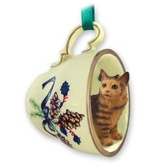 Maine Coon Cat Tea Cup Holiday Ornament