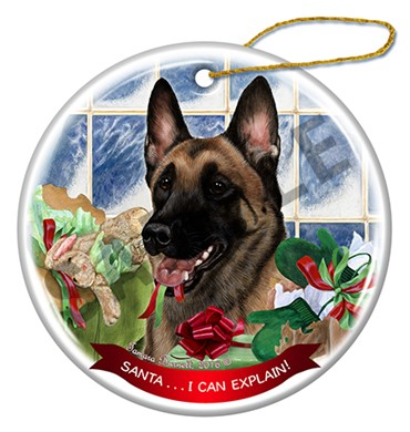 Belgian Malinois Santa I Can Explain Christmas Ornament