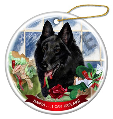 Belgian Shepherd Santa I Can Explain Dog Christmas Ornament