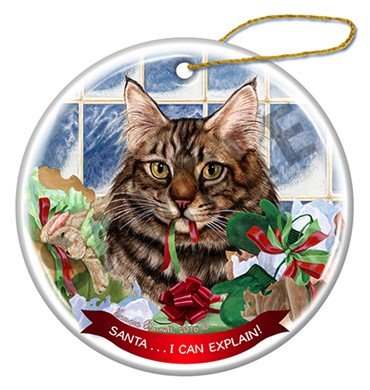 Maine Coon Brown Tabby Cat Santa I Can Explain  Christmas Ornament