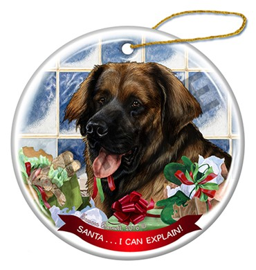 Leonberger Santa I Can Explain Dog Christmas Ornament - click for breed colors