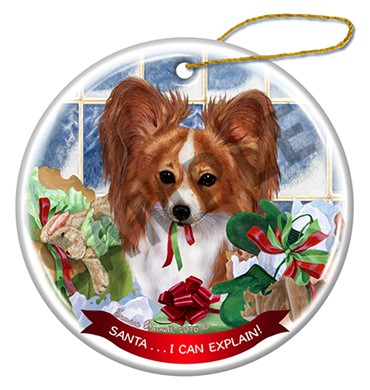 Papillion I Can Explain Dog Christmas Ornament - click for more breed colors