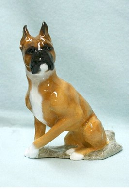 Boxer Cropped Ron Hevener Dog Figurine
